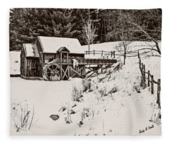 Black And White Art Photograph.winter At The Gristmill. Fleece Blanket