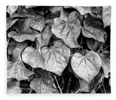 Black And White Leaves From A Red Leaf Tree Fleece Blanket