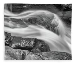 Black And White Rushing Water Fleece Blanket