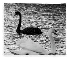 Black And White Swans Fleece Blanket