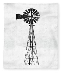 Black And White Windmill 1- Art By Linda Woods Fleece Blanket