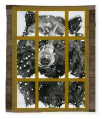 Black Bear, Outside My Window Fleece Blanket