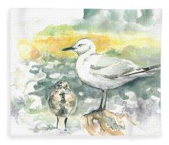 Black-billed Gull Family Fleece Blanket