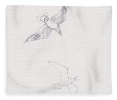 Black-billed Gulls Fleece Blanket