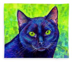 Black Cat With Chartreuse Eyes Fleece Blanket