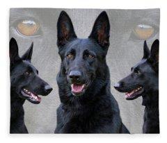 Black German Shepherd Dog Collage Fleece Blanket