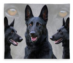 Black German Shepherd Dog Collage Fleece Blanket