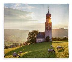 Black Head Sheep Graze By A Church In Alps Fleece Blanket