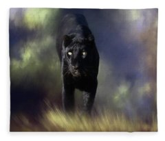 Black Leopard In The Grass Fleece Blanket