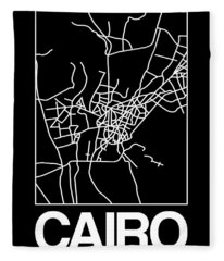 Black Map Of Cairo Fleece Blanket