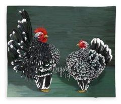 Black Mottled Serama Pair Fleece Blanket