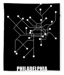 Black Philadelphia Subway Map Fleece Blanket