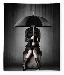 Black Rain Fleece Blanket