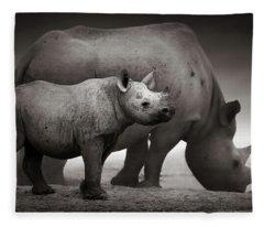 Black Rhinoceros Baby And Cow Fleece Blanket