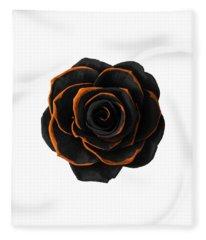 Black Rose- Black And Gold Rose - Death - Minimal Black And Gold Decor - Dark 2 Fleece Blanket