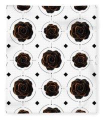 Black Rose Pattern - Black And Gold Rose - Death - Minimal Black And Gold Decor - Dark 3 Fleece Blanket