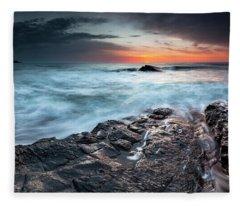 Black Sea Rocks Fleece Blanket