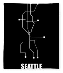 Black Seattle Subway Map Fleece Blanket