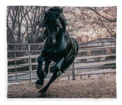Black Stallion Cantering Fleece Blanket