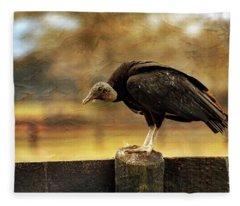 Black Vulture Fleece Blanket