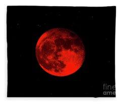 Blood Red Wolf Supermoon Eclipse 873a Fleece Blanket