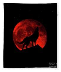 Blood Red Wolf Supermoon Eclipse 873l Fleece Blanket