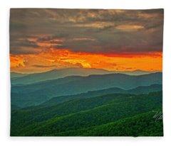 Blowing Rock Sunset Fleece Blanket