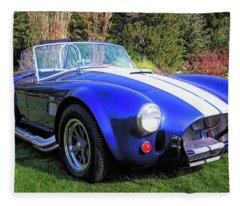 Blue 427 Shelby Cobra In The Garden Fleece Blanket
