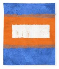 Blue And Orange Abstract Theme I Fleece Blanket