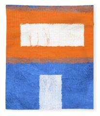 Blue And Orange Abstract Theme II Fleece Blanket