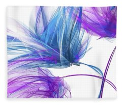 Blue And Purple I - Blue And Purple Abstract Art Fleece Blanket