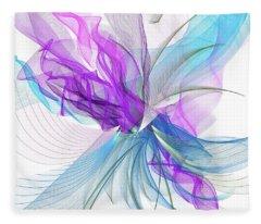Turquoise And Purple Art Fleece Blanket