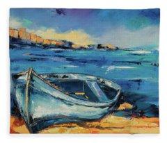 Blue Boat On The Mediterranean Beach Fleece Blanket