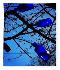 Blue Bottles In Tree Fleece Blanket