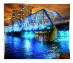 Blue Bridge Autumn Sky Fleece Blanket