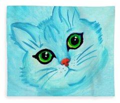 Blue Cat Fleece Blanket