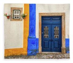 Blue Door Of Medieval Portugal Fleece Blanket