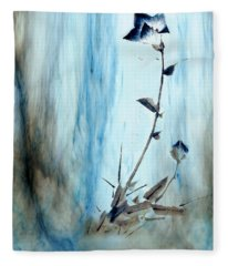 Blue Flower Abstract Fleece Blanket