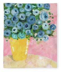 Blue Flowers In A Yellow Vase- Art By Linda Woods Fleece Blanket