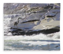 Blue Heron In Flowing Water. Fleece Blanket
