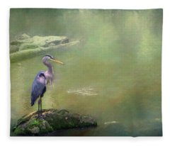 Blue Heron Isolated Fleece Blanket