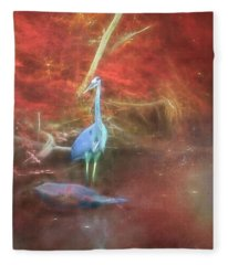 Blue Heron Red Background Fleece Blanket