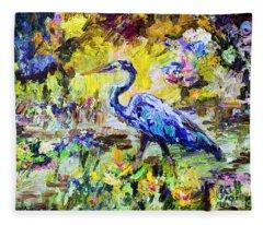 Blue Heron Wetland Magic Palette Knife Oil Painting Fleece Blanket