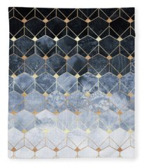 Blue Hexagons And Diamonds Fleece Blanket
