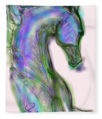 Blue Horse Painting Fleece Blanket