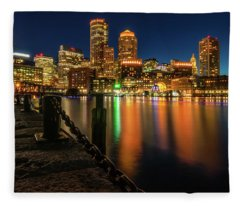 Blue Hour At Boston's Fan Pier Fleece Blanket