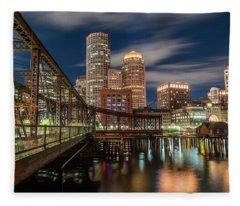 Blue Hour In Boston Harbor Fleece Blanket