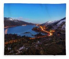 Blue Hour On The Columbia Fleece Blanket