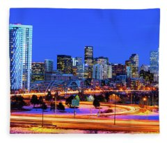 Blue Hour Over Denver Fleece Blanket