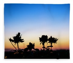 Blue Hour Sunset With Flowers Fleece Blanket